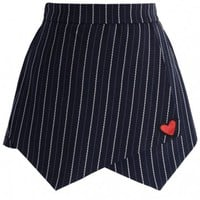 Lovely Heart Stripe Flap Skorts in Navy