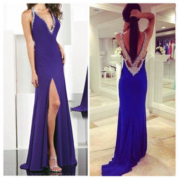 V-Neck Prom Dresses,Blue Prom Dresses,Long Evening Dress