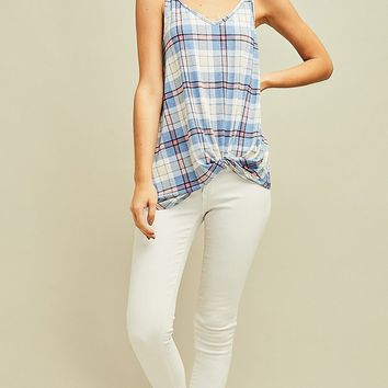 One More Minute Plaid Pattern Sleeveless Spaghetti Strap V Neck Tank Top - 2 Colors Available