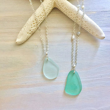 Sea Glass Necklace - Beach Glass Necklace - Green Sea Glass - Mermaid Jewelry - Beach Wedding Jewelry - Beach Bridesmaid Necklace