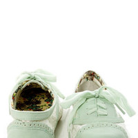Not Rated Borderline Mint and White Crocheted Spectator Oxfords