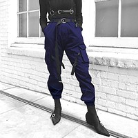 Women Fashion Loose Webbing Buckle Cargo Pants Solid Color High Waist Leisure Pants Trousers