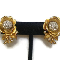 Special - Vintage 1960s Gold Tone Rose and Rhinestone Clip-On Earrings - Under 3 Dollars - VIC868
