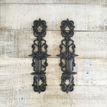 Wall Sconces Pair of Vintage Black  Burwood Candle Sconces Ornate Black Candle Holder Vintage Plastic Wall Mount Sconces Hollywood Regency