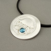 Jellyfish Blue Topaz and Sterling Silver Ocean Pendant | The Silver Forge Handcrafted Jewellery