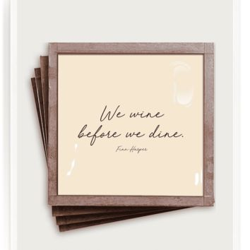 We Wine Before We Dine Copper & Glass Coasters, Set of 4
