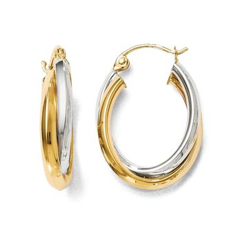 5mm Polished Crossover Oval Hoop Earrings in 14k Two Tone Gold, 23mm
