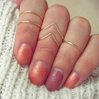Gold Adjustable Above Knuckle Chevron Ring Set