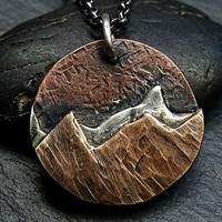 big mountain range pendant, unique mens necklace landscape amulet necklace mountain, outdoor pendant mountain range, steampunk pendant