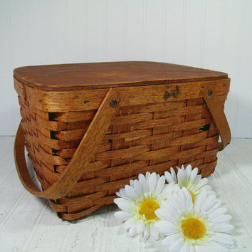 Rustic Wooden Woven Domino PieKeep Basket Picnic Hamper - Vintage Baked Goods Carrier - BoHo Shabby Primitive Wood Square Two Handled Basket