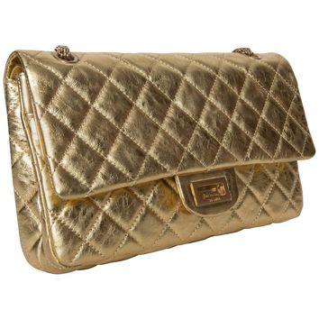 2008 Chanel Gold Jumbo Double Flap Shoulder Bag
