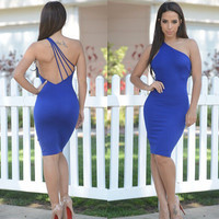 Blue One Shoulder Sleeveless Backless Bodycon Midi Dress
