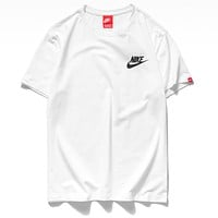 Nike Hot Sale Women Men Classic Print Round Collar T-Shirt Top White
