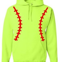 Softball Pullover Hooded Sweatshirt (Unisex Adult Hoodie) - Neon Safety Green / Red (SMALL (Unisex Adult Sizing))