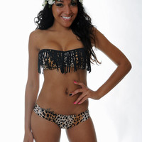 Cheetah/Black Fringe Tube TOP ONLY