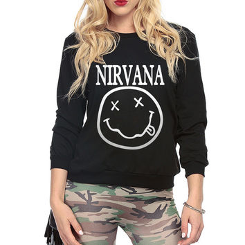 Nirvana Smiley Face  cotton hoodies for Lady