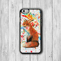 Watercolor ART Messy Color Fox iPhone 6 Cover, Lovely Animal iPhone 6 Plus, iPhone 5S, iPhone 4S Hard Case, Rubber Wild  Accessories Gift