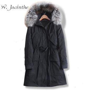 W.Jacinthe Winter Jacket 2017 New Long Thick Slim Waist Coat Korean Casual School Style Women Clothes Real Fur Collar Hooded