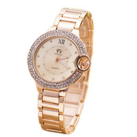 Girls Womens Classic Sport Casual Gold Strap Watch with Diamond