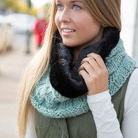 NEW Reversible Hand Knit Faux Fur lined Infinity Scarf - Mink