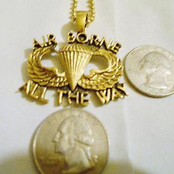bling 14kt yellow gold plated army soldier marine air borne pendant charm chain hip hop necklace jewelry sgt.