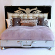 Plush Damask Pet Bed, The Sophie purple and gray suitcase frame