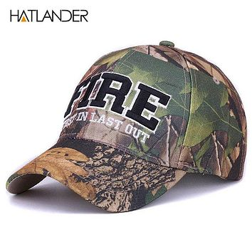 Sports Hat Cap trendy  [HATLANDER]FIRE letters sports caps camo outdoor curved fishing hats fitted hip hop camouflage baseball cap for men women unisex KO_16_1