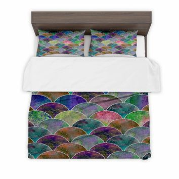 Duvet Cover + 2 Pillow Sham Covers Mermaid scale