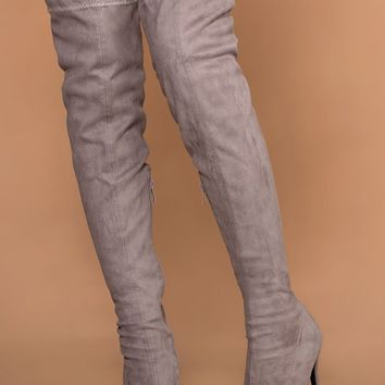 Jackie Grey Suede Over the Knee Boots