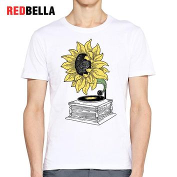 REDBELLA Retro 90s Tshirt Sunflower Art Popular Pattern Tees Tumblr Mens T-shirt O-neck Print Cotton Fashion Tops Poleras Hombre