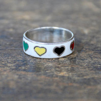 Vintage Sterling Silver Band Ring Enamel Bright Colored Hearts Made in Thailand Size 5 1/4 1980's // Vintage Sterling Silver Jewelry