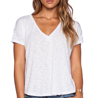LNA Capey V Neck Tee in White