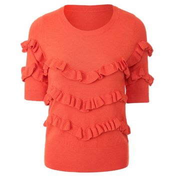 Stylish Round Collar Short Sleeve Pure Color Flounced Knitted Women's Sweater
