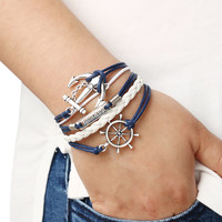 Braided Leather Bracelet With Anchor And Rudder   MakeMeChic.COM