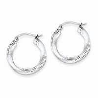 Sterling Silver Satin Finished D.C Twisted Hoops