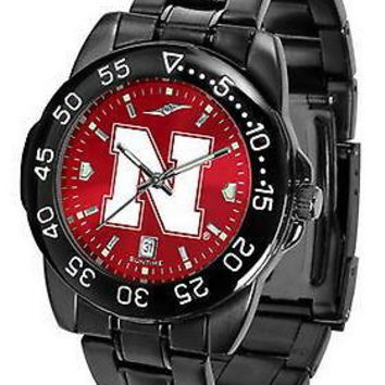 Nebraska Huskers Mens Watch Fantom Gunmetal Anochrome Red Dial