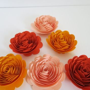 "Orange shades paper flowers set, 3"" roses, Best of Fall under $20 Wedding table centerpiece decorations, 6 wall flowers, Autumn Pumpkin fest decor"