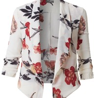 LE3NO Womens Textured Ultra Lightweight Floral Open Front 3/4 Sleeve Blazer