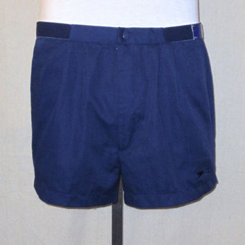 Vintage New With Tags 80s CASUAL ATHLETIC Slazenger Stylish Tennis Medium Large Size 34-36 Rare Navy Blue Poly Cotton SHORTS