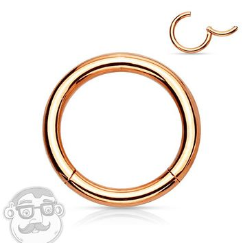 Rose Gold Plated Hinged Stainless Steel Segment Hoop Ring