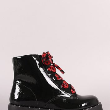 Bamboo Love Ribbon Lace-Up Combat Ankle Boots
