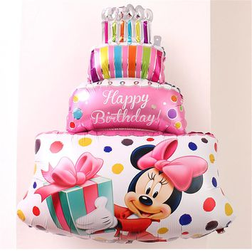 CRLEY 10pcs Cake Shape Balloon Mickey Mouse Birthday Party Baby Shower Celebration Balloon Inflatable Globos Baby Shower Balloon