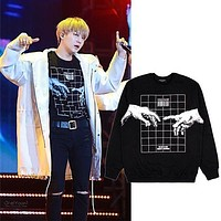 KPOP BTS Suga Sweatershirt Hoodie Fashion Black Pullover Bangtan Boys