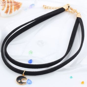 Velvet with short necklace punk loly with the moon crystal pendant short clavicle necklace