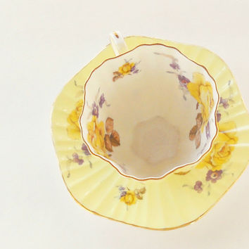 Vintage English China Foley Ornate Tea Cup and Saucer Set, Downton Abbey, Numbered, Tea Parties, Bridesmaid Gift Inspired