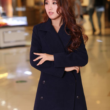 2017 fashion winter coat wool coat double notched thick chest plus size thin coat chaquetas mujer casaco feminino