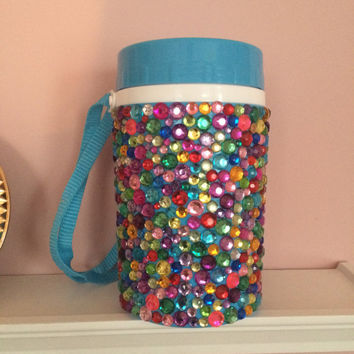 Rhinestone Water Bottle with Strap