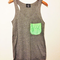 Neon Fringe Lace Pocket Tank// Racerback Tank Top in Neon Green and Gray