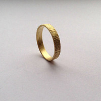 Gold Tree Bark Ring -18 Carat Solid Gold - Wide Wedding Band - Men's Women's  - Yellow 18 Karat - Unisex - Recycled Eco - Hallmarked