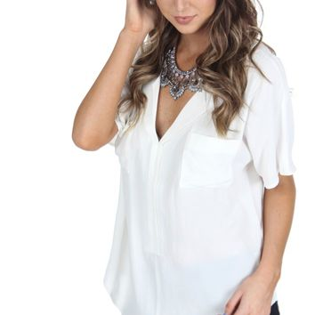 Double Pocket Ivory Top